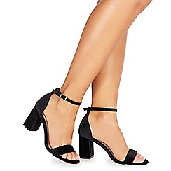 Faith - Black 'Deirdrie' high block heel ankle strap sandals