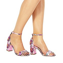 Faith - Pink 'Deirdrie' high block heel ankle strap sandals