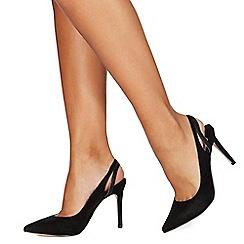 Faith - Black suedette 'Chelsea' high stiletto heel slingbacks sandals