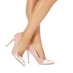 Faith - Pale pink velvet 'Chloe' high stiletto heel pointed shoes