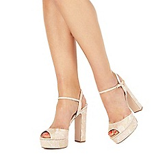 Faith - Light pink 'Lou' high block heel ankle strap sandals