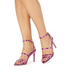 Faith - Pink 'Disco' high stiletto heel ankle strap sandals