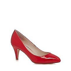 Faith - Red 'Cinnie' mid kitten heel court shoes