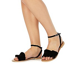 Faith - Black leather 'Jello' ankle strap sandals