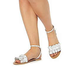 Faith - Silver leather 'Jello' ankle strap sandals