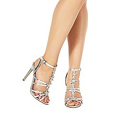 Faith - Silver 'Lucy' high stiletto heel ankle strap sandals