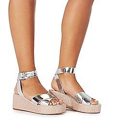 Faith - Silver 'Jill' mid flatform heel ankle strap sandals