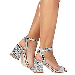 Faith - Silver 'Daffodil' high block heel ankle strap sandals
