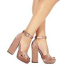 Faith - Light pink 'Louisa' high block heel ankle strap sandals