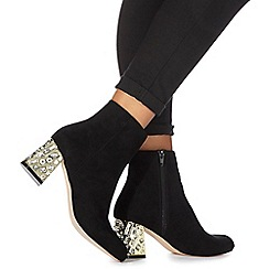 Faith - Black 'Bevan' high block heel ankle boots