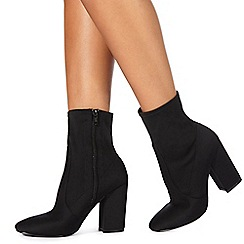 Faith - Black 'Bambi' high block heel ankle boots