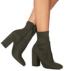 Faith - Khaki 'Bambi' high block heel ankle boots