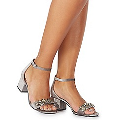Faith - Grey suedette 'Derry' mid block heel ankle strap sandals