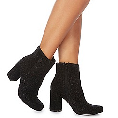 Faith - Black glitter 'Bling' high block heel ankle boots