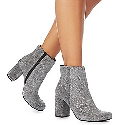 Faith - Silver glitter 'Bling' high block heel ankle boots