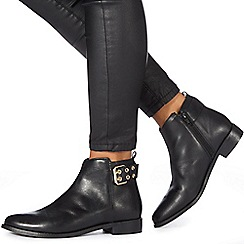 Faith - Black leather 'Brogana' biker boots