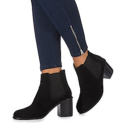 Faith - Black suede 'Becky' high block heel Chelsea boots