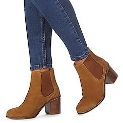 Faith - Tan suede 'Becky' high block heel Chelsea boots