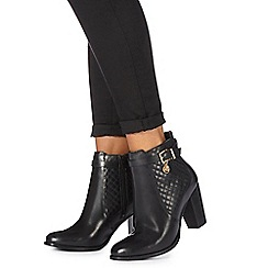 Faith - Black leather 'Brooks' high block heel ankle boots