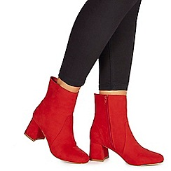 Faith - Red suedette 'Briana' mid block heel ankle boots