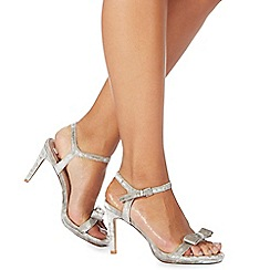 Faith - Silver 'Dodo' high stiletto heel wide fit ankle strap sandals