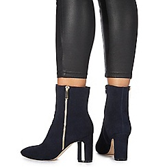 Faith - Navy suede 'Betina' high block heel ankle boots