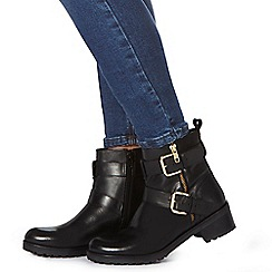 Faith - Black leather 'Betsie' biker boots