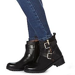 Faith - Black leather 'Betsie' biker boots