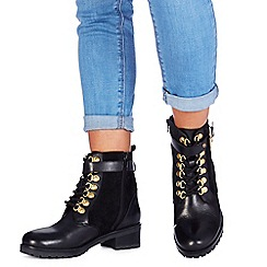 Faith - Black leather 'Barnie' mid heel biker boots