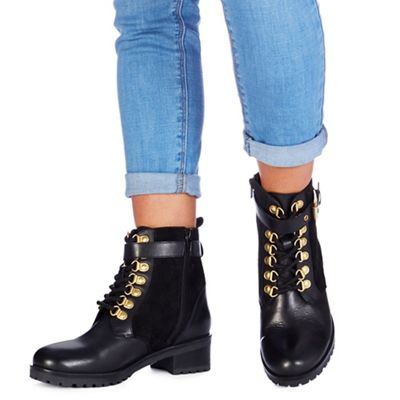 Black Mid Heel Womens Biker Boots