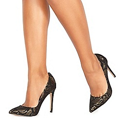 Faith - Black 'Chloe Brocade' high stiletto heel pointed shoes