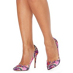 Faith - Pink 'Chloe Brocade' high stiletto heel pointed shoes