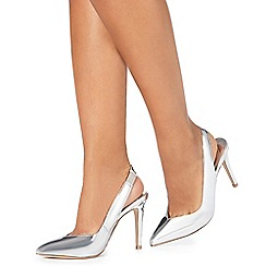 Faith - Silver 'Casey' high stiletto heel pointed shoes