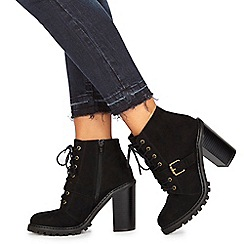 Faith - Black suedette 'Biker' high block heel biker boots
