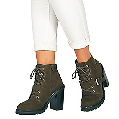 Faith - Khaki suedette 'Biker' high block heel biker boots