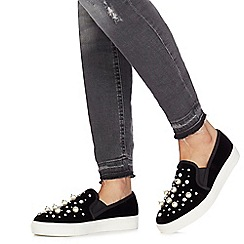 Faith - Black 'Kayla' embellished slip on trainers