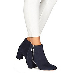 Faith - Navy suedette 'Weryn' high heel wide fit ankle boots