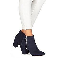 Faith - Navy suedette 'Weryn' high heel wide fit ankle boots
