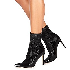 Faith - Black leatherette 'Bow' high stiletto heel ankle boots