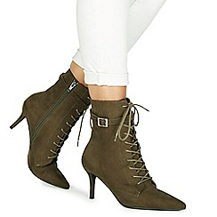Faith - Khaki suedette 'Bing' high stiletto heel ankle boots