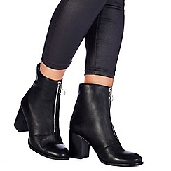 Faith - Black leather 'Bip' high block heel ankle boots