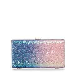 Faith - Pink and blue ombre glitter 'Petra' clutch bag