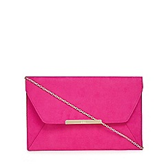 Faith - Pink suedette 'Paisley' envelope clutch bag