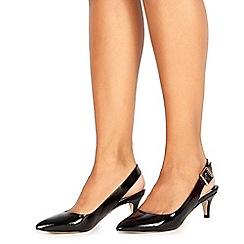 Faith - Black patent 'Citten' mid kitten heel slingbacks
