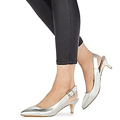 Faith - Silver 'Citten' mid kitten heel slingbacks