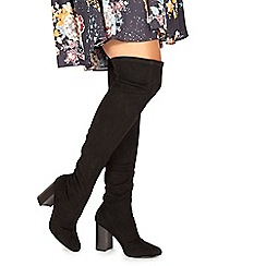 Faith - Black suedette 'Molly' high block heel over the knee boots