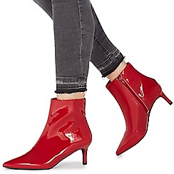 Faith - Red 'Batent' mid stiletto heel ankle boots