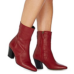 Faith - Red leather 'Bounty' mid block heel ankle boots