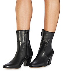 Faith - Black leather 'Bounty' mid block heel ankle boots