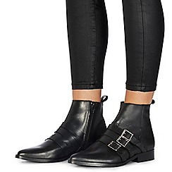 Faith - Black leather 'Bernie' ankle boots